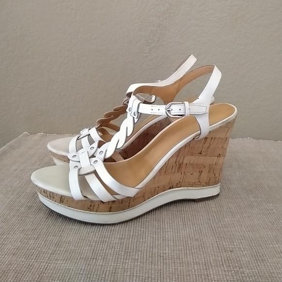 ced831d7b81 Franco Sarto Shoes - Franco Sarto suzy leather cork wedge sandals white